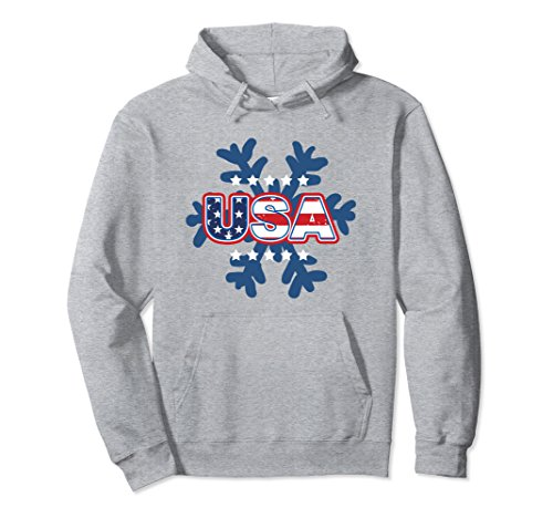 Unisex USA Patriotic Hoodie Winter Snowflake Sports Hooded Shirt Large Heather - Snow List Sports
