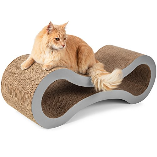 Paws & Pals Cat Scratcher Lounge Post 32x11x11 Inches Cardboard Furniture Construction with Catnip