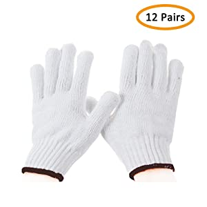 Work Gloves Cotton Heavy Duty - For 12Pairs White Gloves Men, Women BBQ Thicker Industry Knitted Cut Resistant All-weather Customer Support