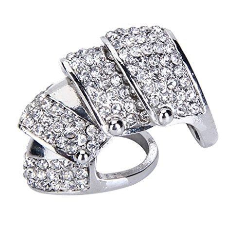 Punk Silvery Full Finger Armor Ring W/rhinestone (Finger Armor Ring)