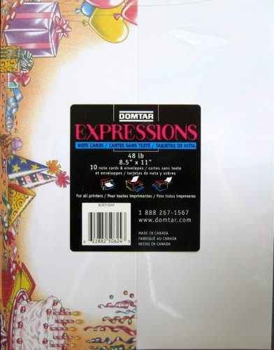 - Domtar Expressions Note Cards - 10 Note Cards & Envelopes - Birthday Theme