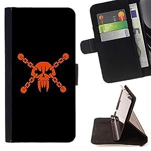 BullDog Case - FOR/Samsung Galaxy S6 EDGE / - / skull head pirate mask vampire teeth orange /- Monedero de cuero de la PU Llevar cubierta de la caja con el ID Credit Card Slots Flip funda de cuer