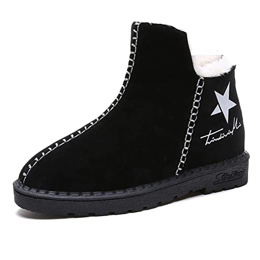 f486ba3a3f557 Women Snow Warmer Platform Boots, NDGDA Winter Star Logo Plus Velvet Hot  Shoes (Black