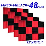 48 Pack Black red 1'' x 12'' x 12'' Acoustic Wedge Studio Foam Sound Absorption Wall Panels