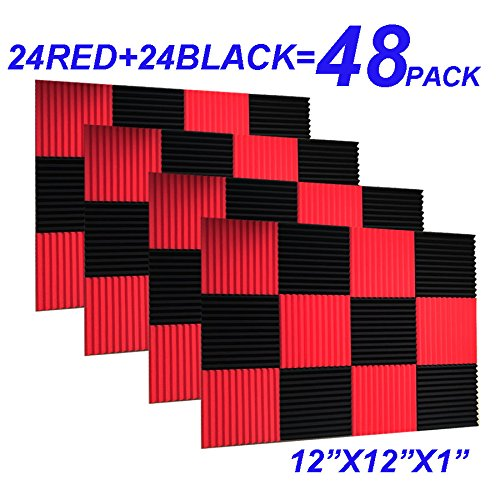 48 Pack Black red 1'' x 12'' x 12'' Acoustic Wedge Studio Foam Sound Absorption Wall Panels by XIN&LG
