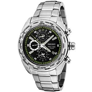 Seiko Men's SPL033 Premier Chronograph World Timer Black Dial Stainless Steel Watch