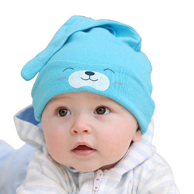 Miunana Cappello Bambino Unisex Neonato Berretto di Cotone Stile Orso per  0-6 Mesi Bambini (Blu)  Amazon.it  Abbigliamento 0133932631c3