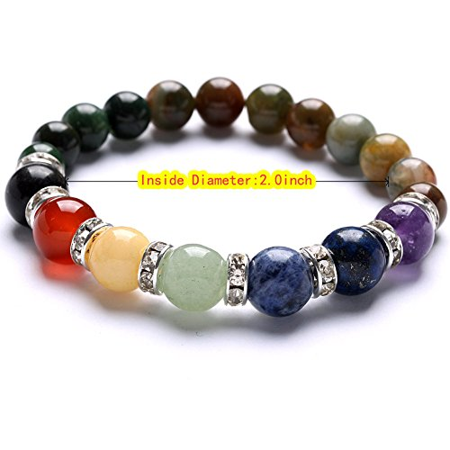 TGS Gems Beautiful Energy Power Crystal Elastic Stretch Beaded Chakra Gemstone Reiki Healing Bracelet 7 Chakra Mixed Combination SL013A26
