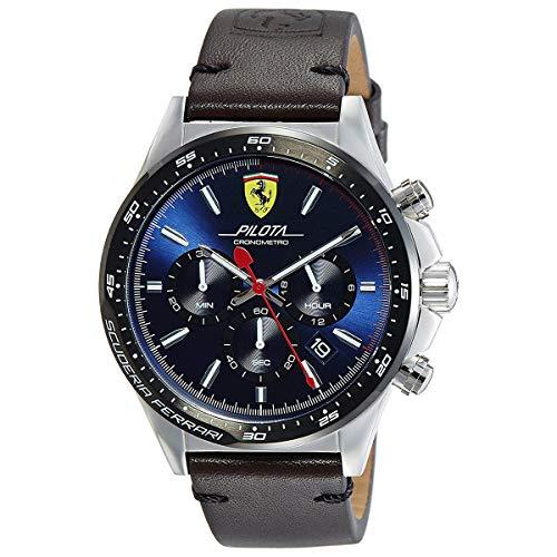 Ferrari Men's Pilota Stainless Steel Quartz Watch with Leather-Calfskin Strap, Brown, 22 (Model: 830435)