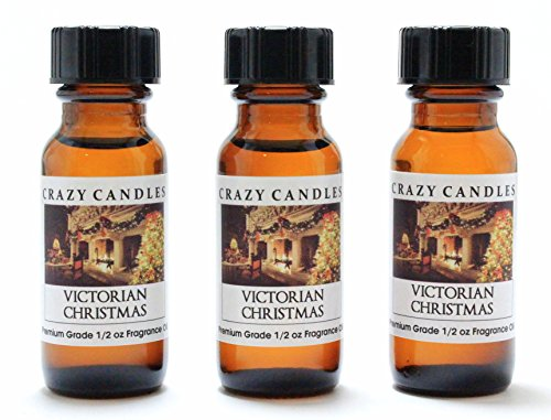 Victorian Christmas 3 Bottles 1/2 Fl Oz Each (15ml) Premium Grade Scented Fragrance Oil By Crazy Candles (Clean Green Pine, Rum Fruitcake, Clean Soft Florals)