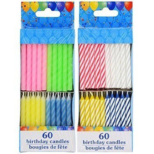 120 Spiral Birthday Candles 60 Pastel and 60 Spiral (Pastel Candle)