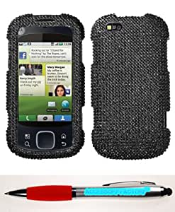 Accessory Factory(TM) Bundle (Phone Case, 2in1 Stylus Point Pen) MOTOROLA MB501 (Cliq XT) Black Full Diamond Bling Protector Cover(Full 2.0) Stylish Design Snap On Hard Case Cover Faceplate Shell