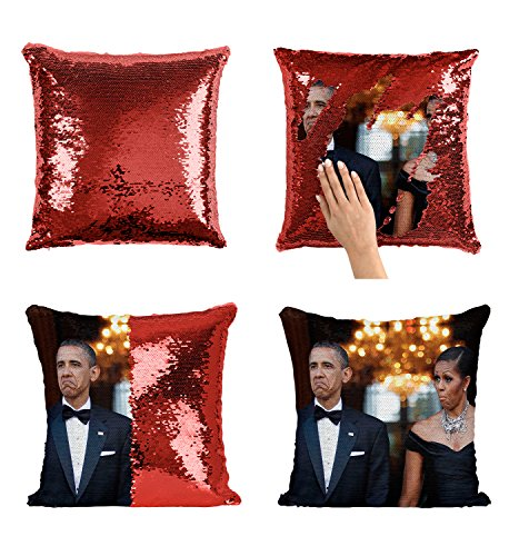 Obama Barrack Michelle Not Bad_P009 Sequin pillow, Sequin Pillowcase, Two color pillow, Fift for her, Gift for him, Magic Pillow, Mermaid Pillow, Scales Pillow ()
