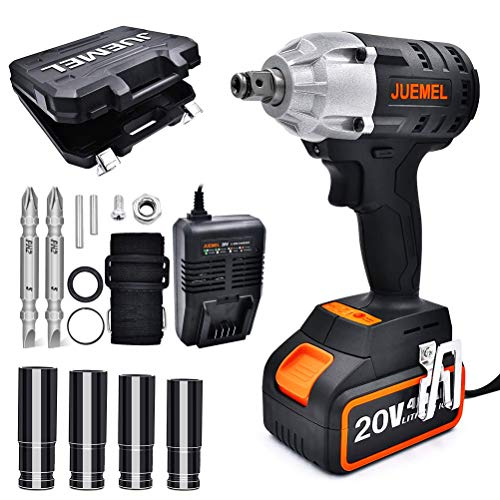 "JUEMEL Cordless Impact Wrench 1/2 inch,1/4"" Hexagonal Chuck Electric Screwdriver Cordless Drill 3 in 1 Multifunctional Power Tool Kit. 20V Max High Torque 2 Speed Impact Driver Set"