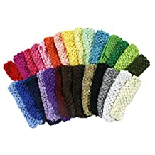 """1 1/2"""" Crochet Headbands Assorted 28 Variety Pack for Babies Infants and Todd..."""