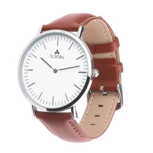 Aurora Men's Casual Business Analog Quartz Waterproof Wrist Watch with Light Brown Leather Band-Silver