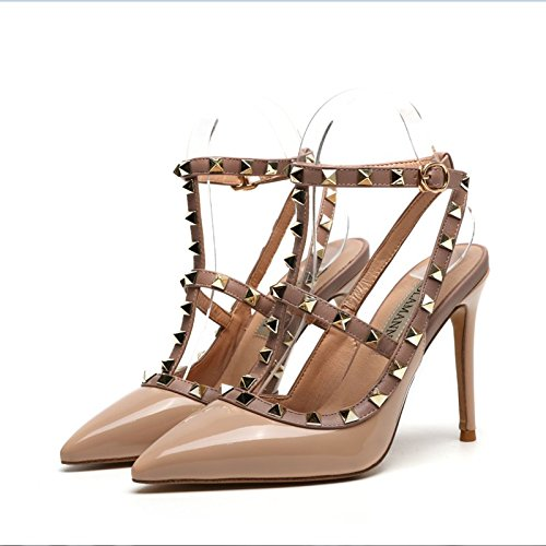 Zapatos tacón con alto de de mujer Zapatos Nude tacón alto de Fina tacón Remache de del verano correa alto Sandalias VIVIOO club tacón Zapatos nocturno roja de Zapatos de 10cm alto IUFWv0q