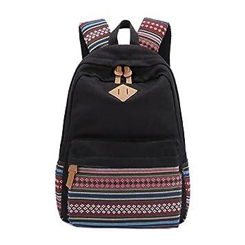 Evay lona mochila Vintage colorida banda escuela para jóvenes adolescentes y niñas ligero lindo impermeable Casual mochila tiene 14 pulgadas Laptop escuela ...