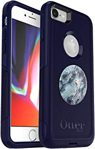 Bundle: OtterBox Commuter Series Case for iPhone 8 & iPhone 7 (NOT Plus) - (Indigo Way) + PopSockets PopGrip - (Blue Marble)