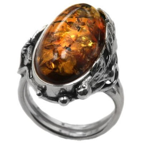Ian and Valeri Co Multicolor Amber Sterling Silver Marquise Ring