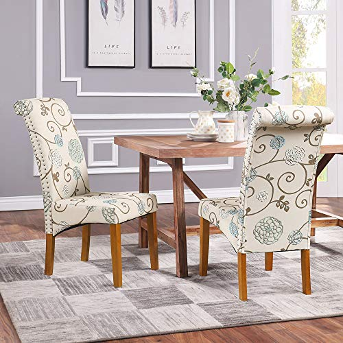 Romatpretty Set of 2 Dining Chair Fabric Padded Side Chair,Fabric Dining Chair Upholstered,Classic Design Chair,with Furniture Solid Wood Legs,for Bedroom Living Room,Floral