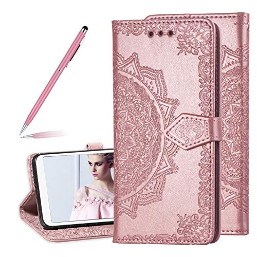 Fancy Embossed Mandala Floral Pattern Premium PU Leather Flip Wallet Case for Samsung Galaxy Note 9,SKYXD Luxury 3D Relief Embossing Sunflowers Full Protective Magnetic Closure Cover - Rose Gold