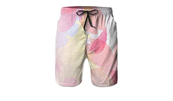Tydo White Rose Flower Mens Beach Shorts Loose Surfing Trunks Surf Board Pants With Pockets For Men