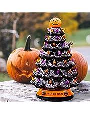 Christmas-Halloween Tree, LED Halloween Pumpkin Christmas Tree, Trick Or Treat, Ceramic Material, Hand-Painted Mini Tabletop Tree, Lighted Orange & Purple Bulbs Pumpkin Top, 9.8 Inch