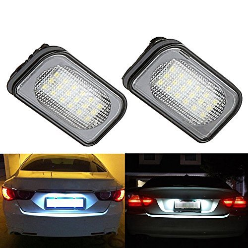 TUINCYN Benz W203 4D Sedan License Plate Light Lamps 3528 18SMD LED 6000K Super Bright Car Driving Rear Tail Light Lamp Driving Lamp(Pack of 2) ()