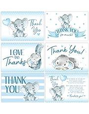 Elephant Baby Shower Thank You Cards, Boy Baby, Mama Baby Shower Favor and Games, 50 Thank You Cards and Envelopes