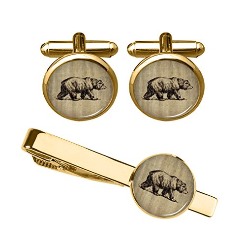 ZUNON Bear Cufflinks Personalized Brown Bear Tie Clips Mens Dome Glass cufflinks Tuxedo Animal Gummy (Vintage bear cufflinks and tie clips gold) (Clip Money Keepsake)
