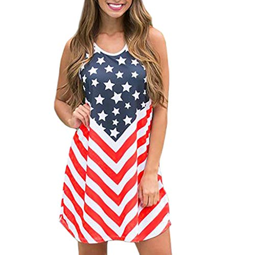 Independence Day Dress for Women - Summer Casual Sleeveles O Neck American Flag Printed Tankl Mini Dresses