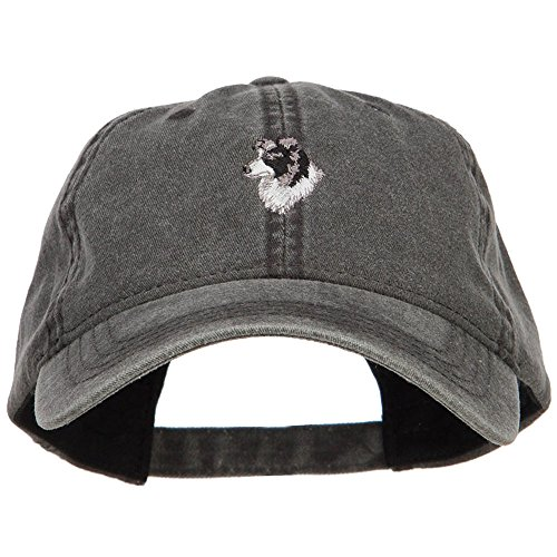 E4hats Border Collie Head Embroidered Washed Cap - Black OSFM