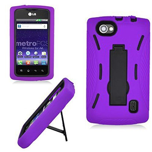 For Lg Optimus M+ M Plus Ms695 Metopcs CellularvillaTM 2pc Hard and Soft Purple and Black Kickstand Case