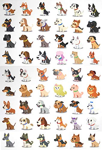 Fiomia Dogs Temporary Tattoo cartoon Sticker Face Decal Body Glitter for children kids girls Waterproof Removable 54 Designs 3 Sheets ()