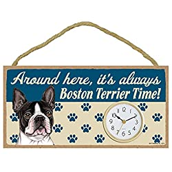 Around Here, It's Always Boston Terrier Time! 10w x 5h Wall / Desk Dog Clock with Bonus I Love My Dog Decal
