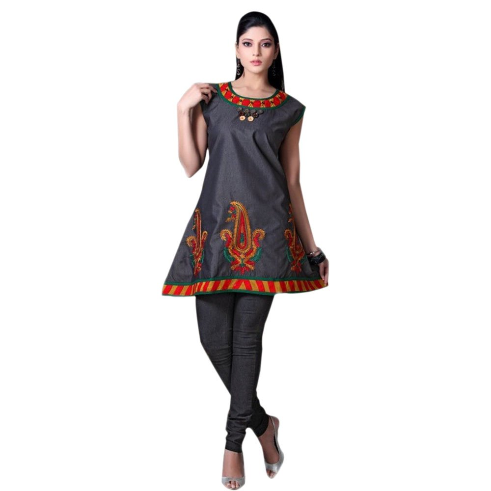 Jayayamala Dark Gray Cotton Multi Color Embroidered Top