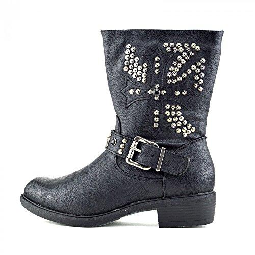 Kick Footwear - Damen Mitte Der Wade Knöchel Army Military Combat Boots Block Heels Und Biker Gothic Punk Schwarz
