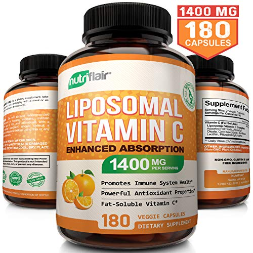 (NutriFlair Liposomal Vitamin C 1400mg, 180 Capsules - High Absorption, Fat Soluble VIT C, Antioxidant Supplement, Higher Bioavailability Immune System Support & Collagen Booster, Non-GMO, Vegan Pills)