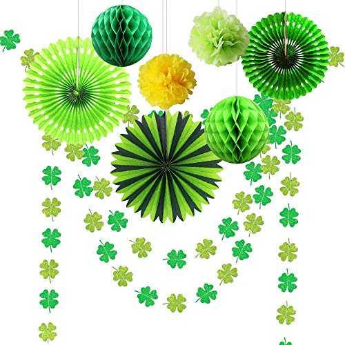 Glitter Green Shamrock Clover Garlands for Easter Party Decoration Hanging Streamer/Banner/Bunting/Paper Fan/Pom Poms Lucky Irish Baby Shower Birthday St. Patricks Day Party Centerpiece Supplies