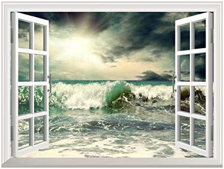 Removable Wall Sticker Wall Mural Beautiful View of Stormy Seascape with Wave Creative Window View Wall Decor