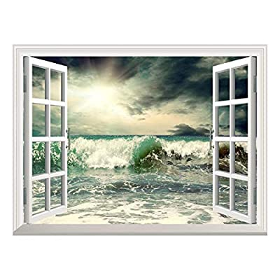 Handsome Craft, Removable Wall Sticker Wall Mural Beautiful View of Stormy Seascape with Wave Creative Window View Wall Decor, That's 100% USA Made