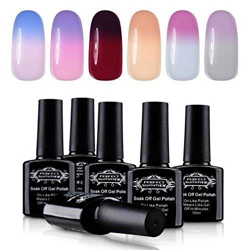 Perfect Summer Soak Off UV/LED Gel Nail Polish - Temperature Changing Color Nail Polish, 10ml Each #03