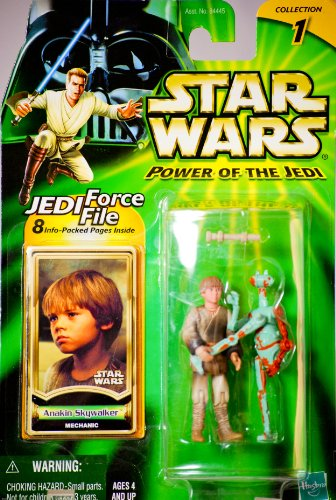 2000 - Hasbro - Star Wars - Power of the Jedi - Collection 1 - Anakin Skywalker (Mechanic) Action Figure - Jedi Force File - New - Out of Production - Limited Edition - Collectible