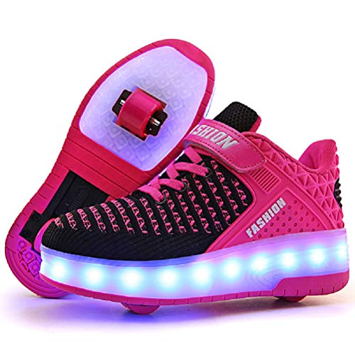 Ufatansy LED Shoes USB Charging Flashing Sneakers Light Up Roller Shoes Skates Sneakers with Wheels for Kids Girls Boys(4.5 M US =CN37, Double Wheel, Pink)