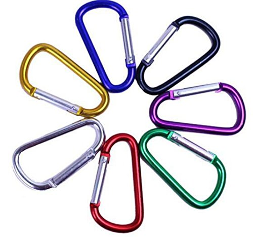 "20 Pack Assorted Colors D Shape Carabiner Connector Key chain Spring-loaded Gate 2""/5cm Aluminum Carabeaner for Climbing, Rv Trip, Camping, Fishing, Hiking, Traveling (10 Different Colors)"