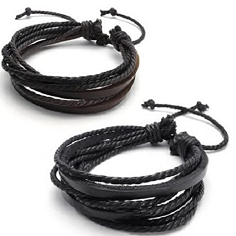 UDTEE New/Fashion Handmade Original Tribe 2-pack Leather Black & Brown Bracelets - Fashion Adjustable Leather Wristband and Rope Cuff Bracelet - Great for Men, Women, Teens, Boys, - Bracelets