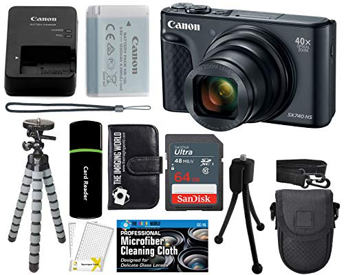 Canon PowerShot SX740 HS Digital Camera (Black) with 20MP, 4K HD Video, 40x Optical + 40x Digital Zoom, Wi-Fi, Bluetooth and 3.0