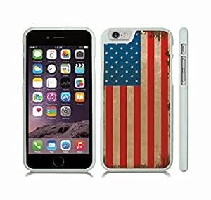 iPhone 6 Plus Case with American Antique Flag Grunge Design , Snap-on Cover, Hard Carrying Case (White)
