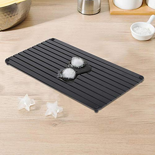 Defrosting Tray Frozen Food Thawing Plate Defrost Meat the Quicker and Saftest Way, No Electricity, No Chemicals, No Microwave, Black
